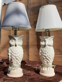 Dual  vintage owl lamp set