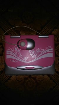 Pink Gnd Gray Laptop Computer With Corded Mouse