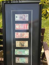 six assorted banknotes in black wooden frame North Muskegon, 49445