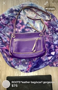 ROOTS*leather bag/scarf gorgeous combination this set is amazing BAG retailed close to 135$ scarf 40$ bag is a gorgeous purple leather used gently some little fading here and there really ads to the style of the bag scarf is a infinity scarf very airy and London, N5W 1E8