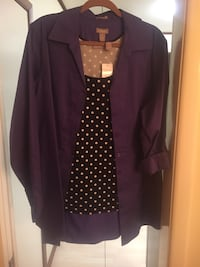 purple suede button-up dress shirt and black polka-dot top
