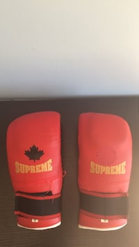 pair of red-and-black Supreme leather boxing gloves