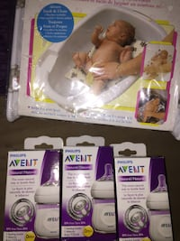 Newborn baby combo. 3 Avent bottles and a bathe are Calgary, T3E 6L9