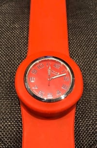 6 x Slap on wrist watches in red