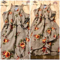 women's gray and red floral dress Hillsboro, 76645