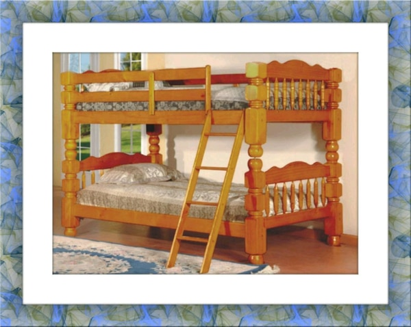 Wooden twin bunkbed frame 2 mattress & free deliv