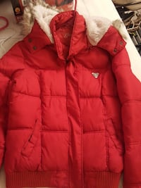Guess red and white fur zip-up jacket, Large