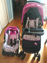 baby's pink and black travel system Greenbelt, 20770