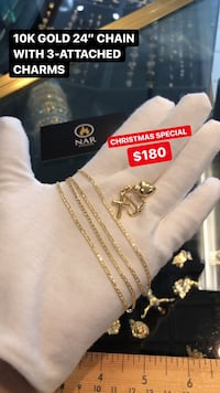 10K REAL YELLOW GOLD CHAIN WITH 3-ATTACHED CHARMS  Toronto, M2J 4E3