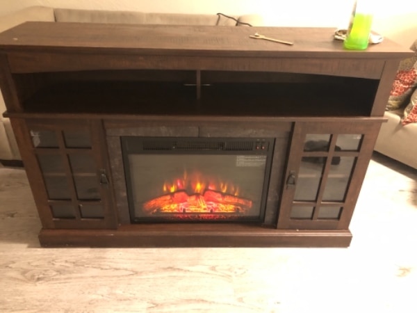 used brown wooden framed electric fireplace for sale in dallas letgo rh gb letgo com