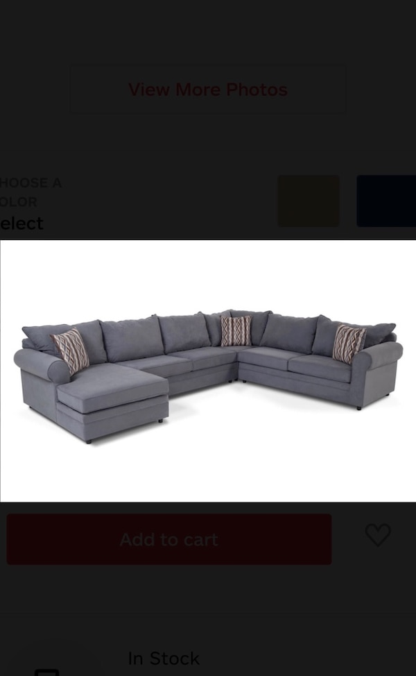 Gray sectional couch with ottoman