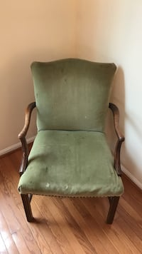 brown wooden framed green padded armchair Arnold, 21012