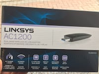 Linksys AC1200 wireless dual band adapter new with box and dvd driver