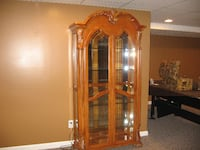 brown wooden framed glass display cabinet Macomb
