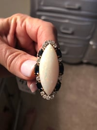 Marguise cut Opal and Sapphire /Diamond Ring 893 mi