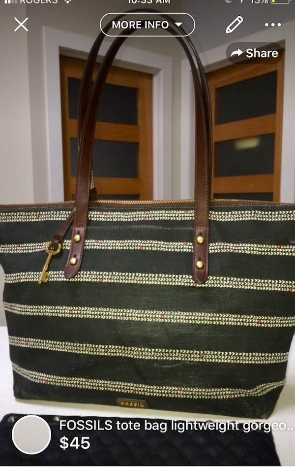 Fossil large tote gorgeous textile linen like some stain on lining still lots of life left