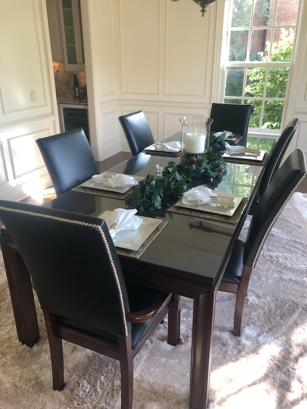 Moving sell - Formal Dining Room Table with 6 leather high back chairs
