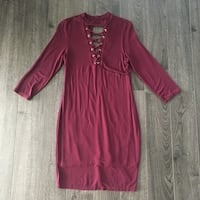 Maroon Lace Up Dress - Large West Hollywood