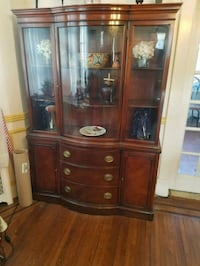 brown wooden framed glass display cabinet Baltimore, 21216