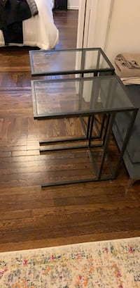 GLASS/ METAL Tuck under tables  New York, 10019