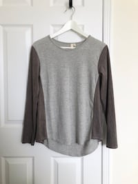 Women's grey top with suede detail- worn once Mississauga, L5M 0C5