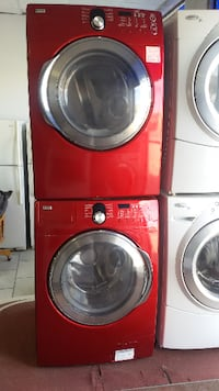 red front-load clothes washer and dryer set MONTREAL