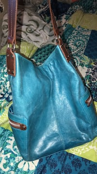 women's blue leather shoulder bag Ogden, 84401