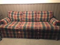 Red, green, and white plaid fabric loveseat Waterdown, L9H 7E2