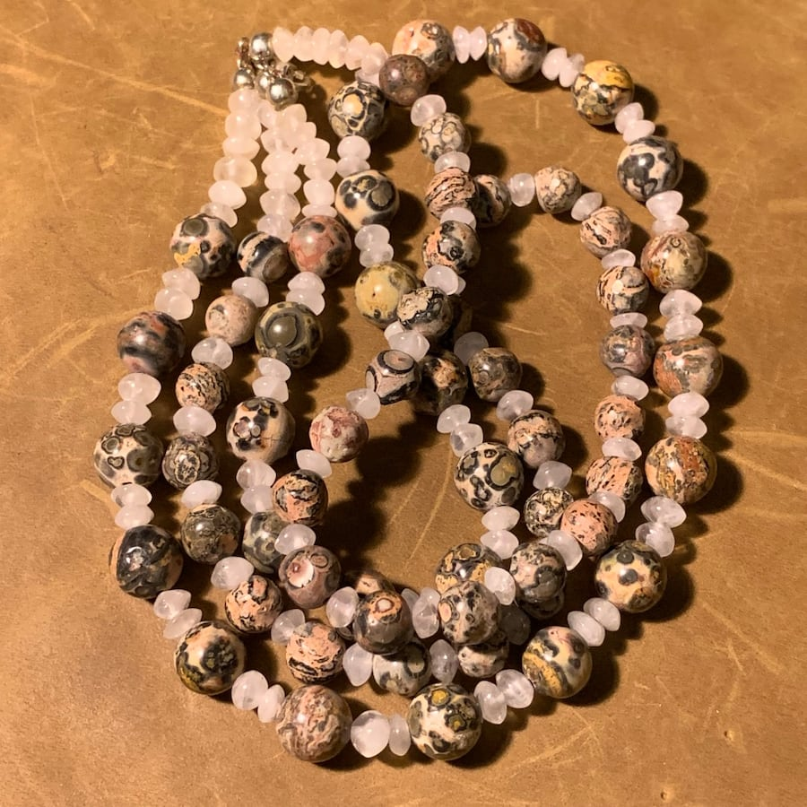 Genuine Agate Beaded Necklace with Sterling Silver Clasp bf57d401-e7f7-42ee-9014-5e2ef9a3c3bf