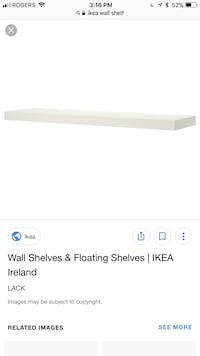 2 White wooden wall shelves for $20 Toronto, M6N 3A9
