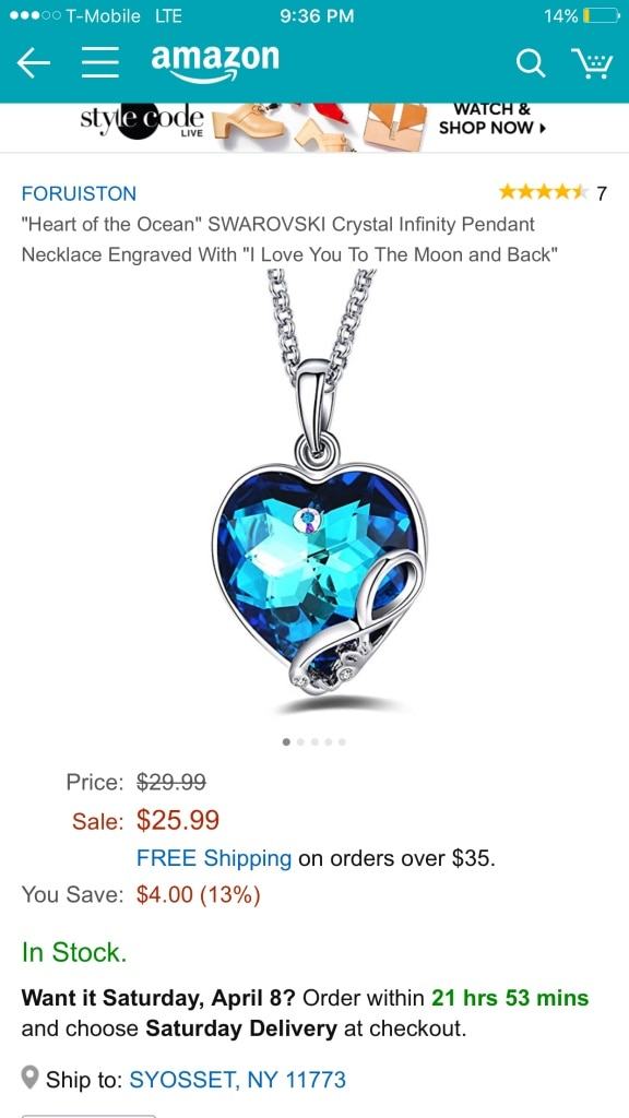 silver heart of the ocean swarvoski crystal infinity pendant necklace