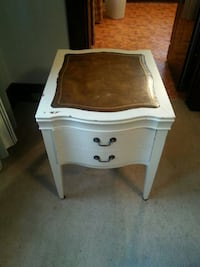 white and brown wooden 2-drawer nightstand
