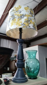 gray wooden lamp with floral shade 830 mi