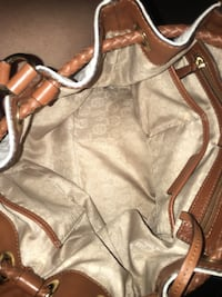 White and brown michael kors leather tote bag Mineola, 75773