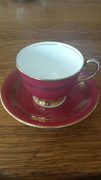 Stunning Cranberry & Gold Aynsley Tea Cup & Saucer 711 km