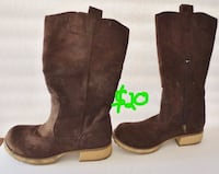 BONGO Knee High Boots Brown Suede Side Zip Size 7 1/2 Womens GOODYEAR