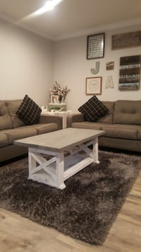 Farmhouse Custom Coffee Table Country Style Stained Wood Top White Distressed Rustic Bottom