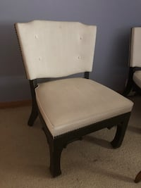 brown wooden framed white padded chair Copiague, 11726