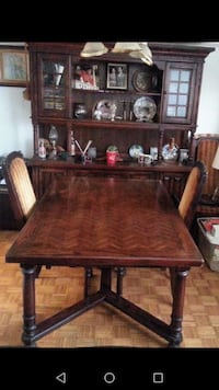 Solid oak hutch and table and chairs