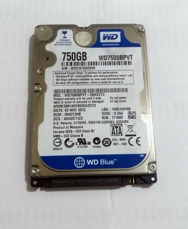 750GB Western Digital Laptop Harddiski 0