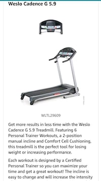 Weslo Cadence Treadmill- In excellent condition. Reston, 20190