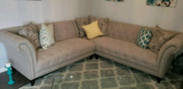 gray and white fabric sectional sofa
