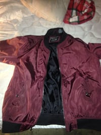 maroon and black bomber jacket