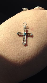 Real silver blue topaz  cross pendant