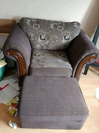 brown wooden framed gray padded armchair Edmonton, T6V 0B6