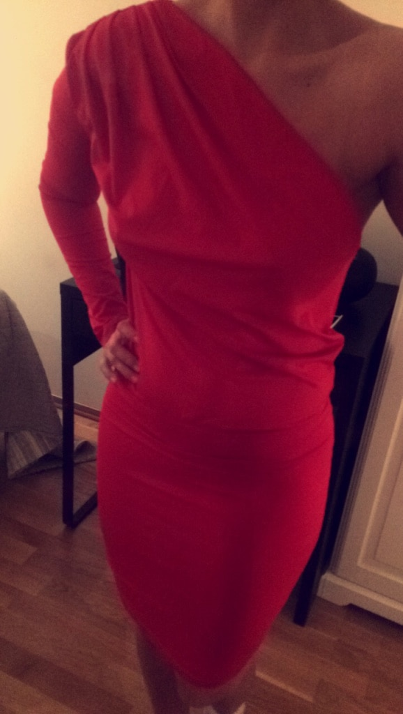 Red fabric one shoulder a line dress