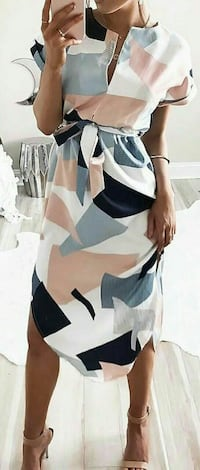 women's white and multicolored split-neck asymmetrical dress