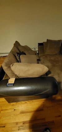 Brown Leather and Swede sectional
