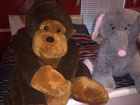 Monkey  and elephant plush toys. Large Monkey $20.00 Elephant $10