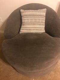 Gray upholstered swivel chair & coordinating pillow Weston, 33326